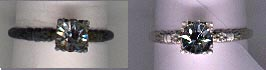 Silver ring, before and after cleaning.