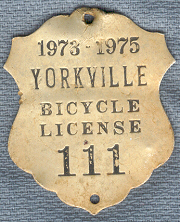 1973-1975 Yorkville Bicycle License 111.