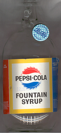 One gallon Pepsi-Cola Fountain Syrup bottle.