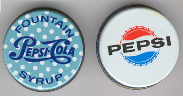 Two different types of Pepsi-Cola caps.